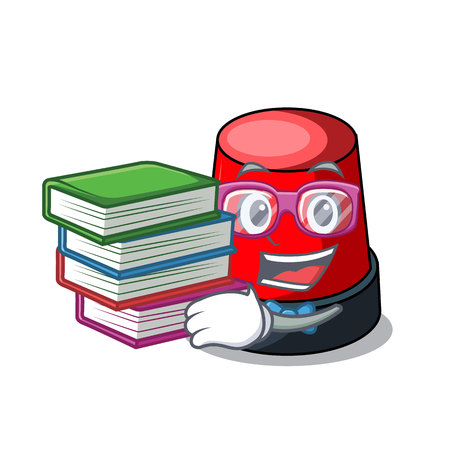 Student with book siren mascot cartoon style vector illustration