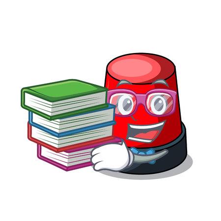 本のサイレンマスコット漫画スタイルのベクトルイラストを持つ学生