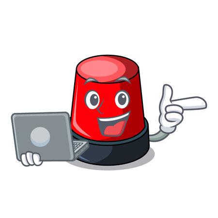 With laptop siren character cartoon style vector illustration