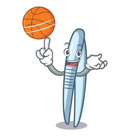 With basketball tweezers character cartoon style vector illustration Illustration