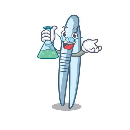 Professor tweezers character cartoon style vector illustration
