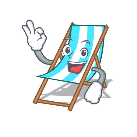 Caricature de personnage de chaise de plage ok