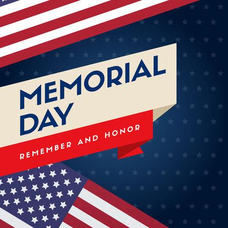 Memorial day background flag american Illustration
