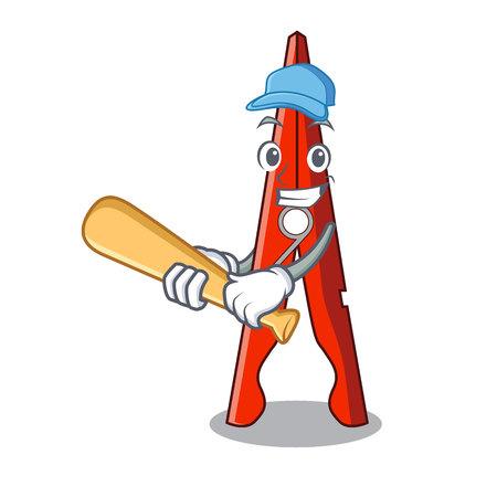 Playing baseball clothes peg character cartoon vector illustration