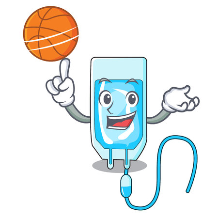 With basketball infusion bottle character cartoon vector illustration