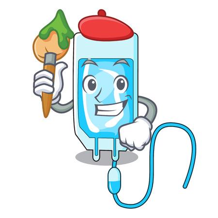 Artist infusion bottle character cartoon vector illustration Illustration