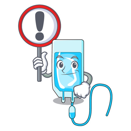 With sign infusion bottle character cartoon vector illustration Vectores