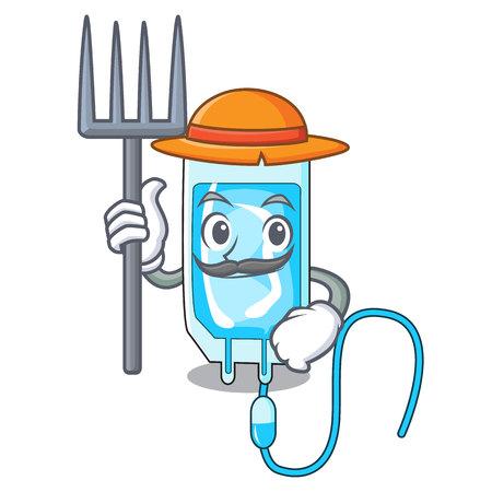 Farmer infusion bottle character cartoon vector illustration
