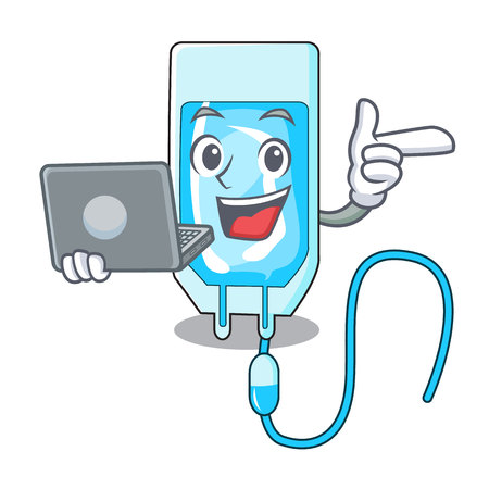 With laptop infusion bottle character cartoon vector illustration