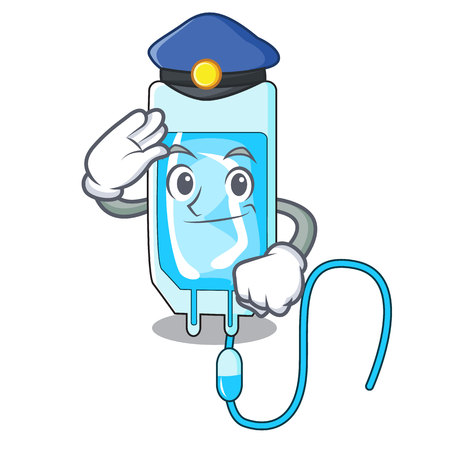 Police infusion bottle character cartoon vector illustration