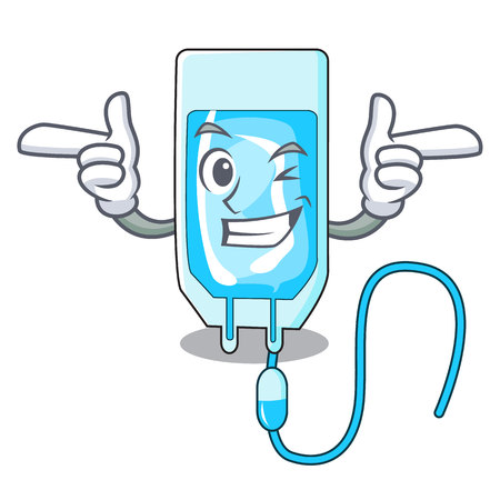 Wink infusion bottle character cartoon vector illustration