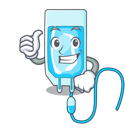 Thumbs up infusion bottle character cartoon vector illustration Illustration