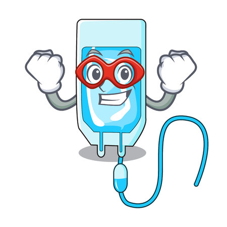 Super hero infusion bottle character cartoon vector illustration Vectores