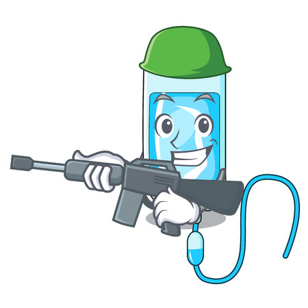 Army infusion bottle character cartoon vector illustration