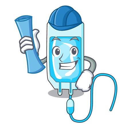 Architect infusion bottle character cartoon vector illustration