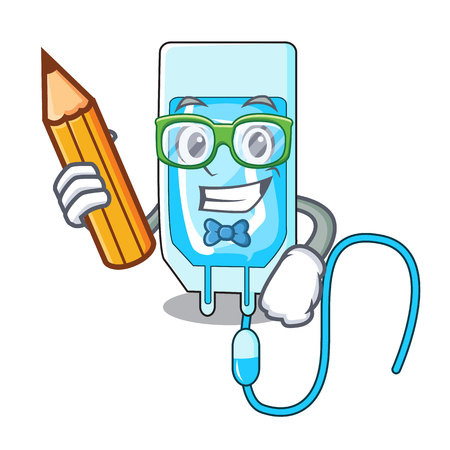Student infusion bottle character cartoon vector illustration Vectores