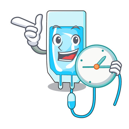 With clock infusion bottle character cartoon vector illustration