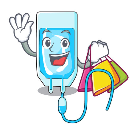Shopping infusion bottle character cartoon vector illustration