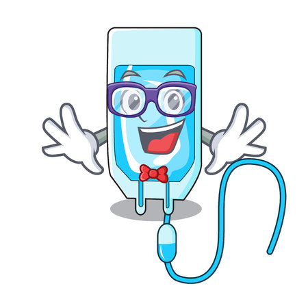 Geek infusion bottle character cartoon vector illustration