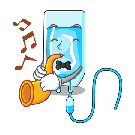 With trumpet infusion bottle mascot cartoon vector illustration Illustration