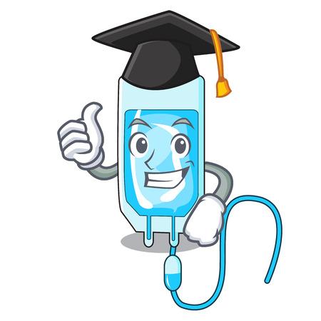 Graduation infusion bottle character cartoon vector illustration