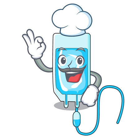 Chef infusion bottle character cartoon vector illustration