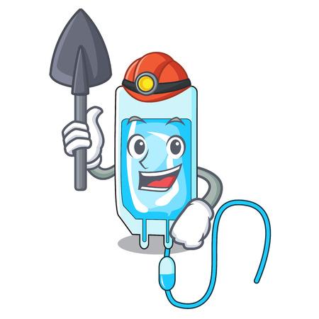Miner infusion bottle mascot cartoon vector illustration Illustration