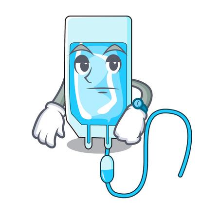 Waiting infusion bottle mascot cartoon vector illustration Illustration