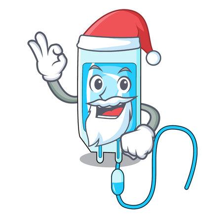 Santa infusion bottle mascot cartoon vector illustration