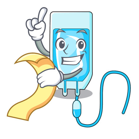 With menu infusion bottle mascot cartoon vector illustration