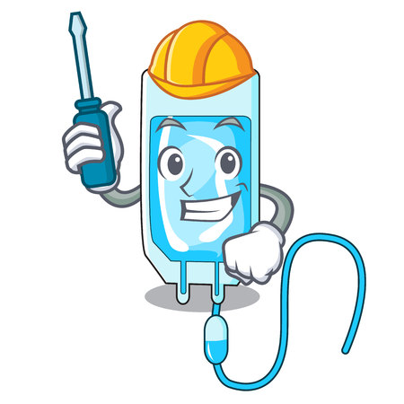 Automotive infusion bottle mascot cartoon vector illustration Illustration