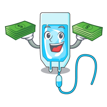 With money bag infusion bottle mascot cartoon vector illustration