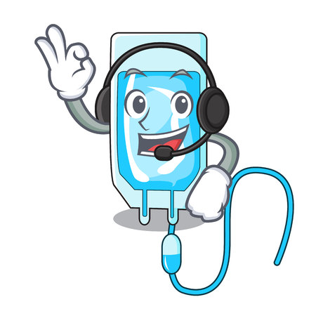 With headphone infusion bottle mascot cartoon vector illustration