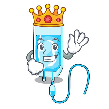 King infusion bottle mascot cartoon vector illustration