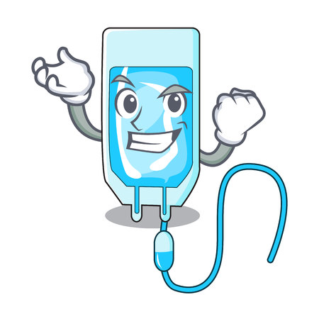 Successful infusion bottle character cartoon vector illustration