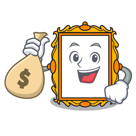 With money bag picture frame character cartoon vector illustration