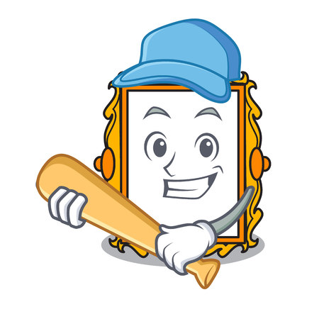 Playing baseball picture frame character cartoon vector illustration