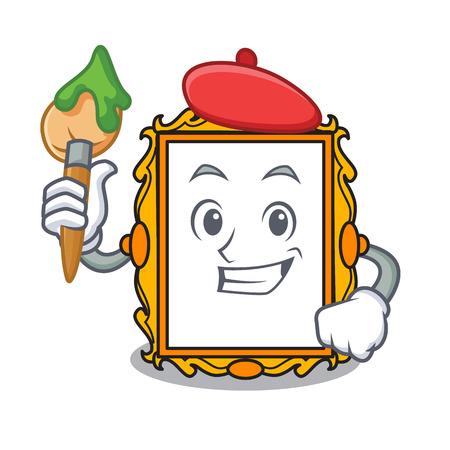 Artist picture frame character cartoon vector illustration Illustration