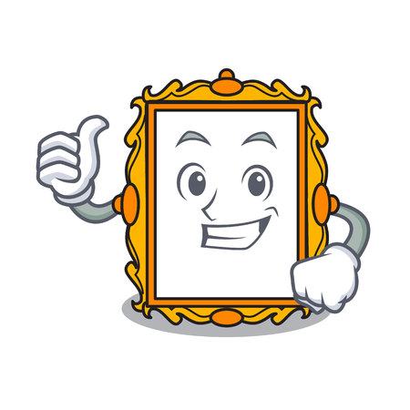 Thumbs up picture frame character cartoon vector illustration