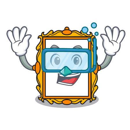 Diving picture frame character cartoon vector illustration