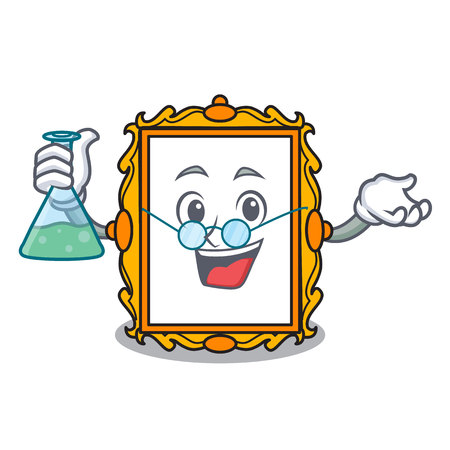 Professor picture frame character cartoon vector illustration Illustration