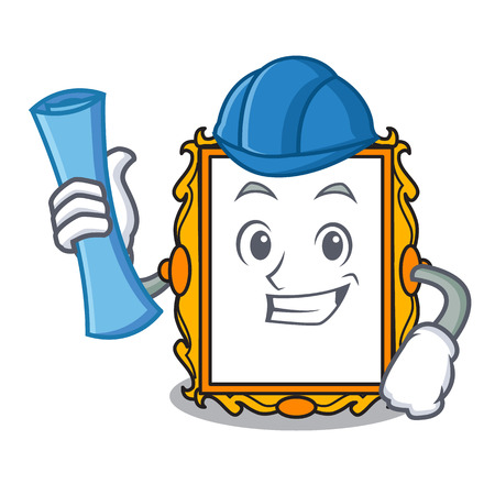 Architect picture frame character cartoon vector illustration Vektorové ilustrace