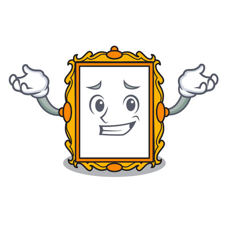 Grinning picture frame character cartoon vector illustration