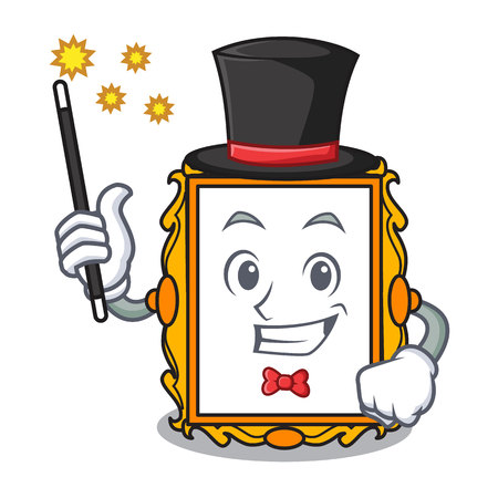 Magician picture frame mascot cartoon vector illustration