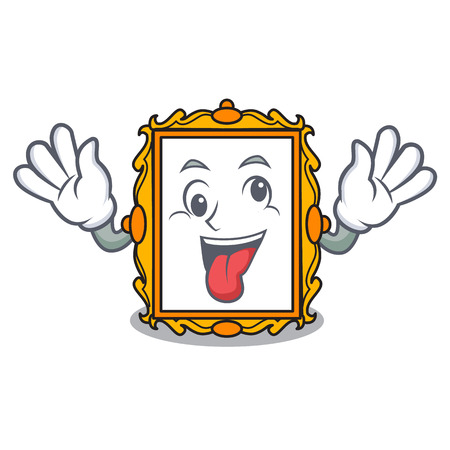 Crazy picture frame mascot cartoon vector illustration Illustration