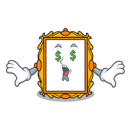 Money eye picture frame mascot cartoon vector illustration