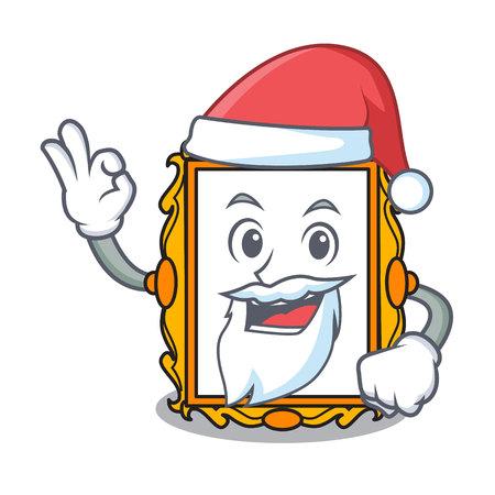 Santa picture frame mascot cartoon vector illustration