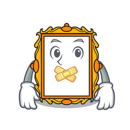 Silent picture frame mascot cartoon vector illustration