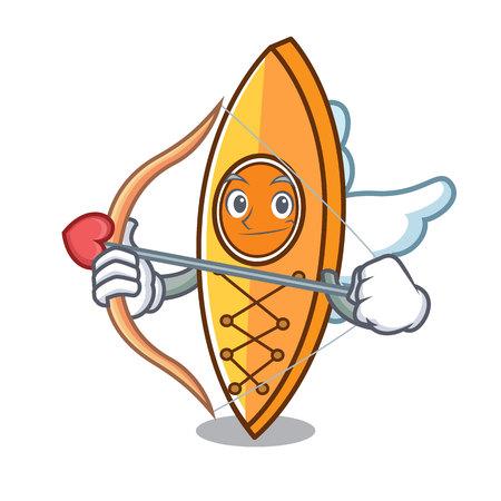 Cupid canoe character cartoon style vector illustration