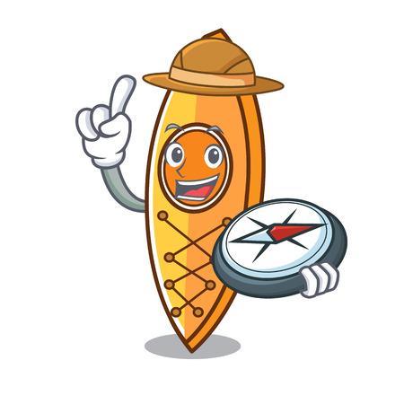 Explorer canoe mascot cartoon style vector illustration